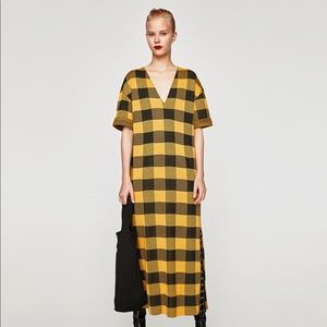 Zara Oversized Yellow Check Dress NWT